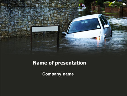 Nature & Environment: Road Flooding PowerPoint Template #05829