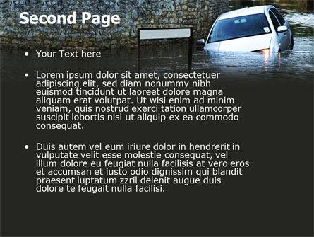 Road Flooding PowerPoint Template, Slide 2, 05829, Nature & Environment — PoweredTemplate.com