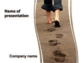 Religious/Spiritual: Sand Footprints PowerPoint Template #05834