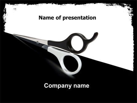 Black And White Scissors PowerPoint Template, 05835, Consulting — PoweredTemplate.com