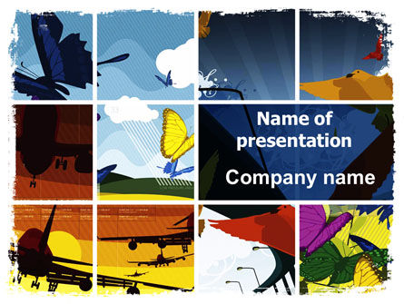 Flying PowerPoint Template, 05836, Cars and Transportation — PoweredTemplate.com