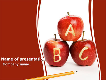 Apples ABC PowerPoint Template, 05849, Education & Training — PoweredTemplate.com