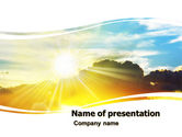 Nature & Environment: Sunset In Clouds PowerPoint Template #05874