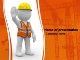 Construction: Symbolic Figure Of A Builder PowerPoint Template #05877