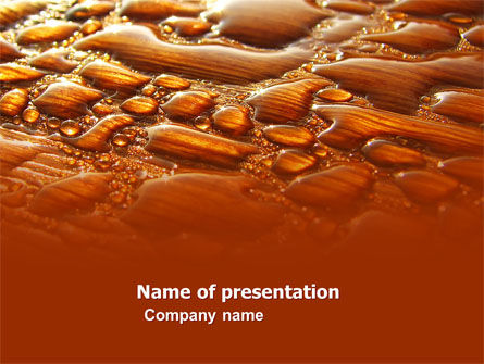 Abstract/Textures: Water Drops On A Brown Background Free PowerPoint Template #05884