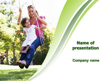 People: Mother and Daughter On A Swing PowerPoint Template #05903