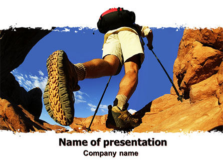 Mountain Hiking PowerPoint Template, 05905, Sports — PoweredTemplate.com