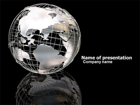 Silver Globe PowerPoint Template, 05921, Global — PoweredTemplate.com