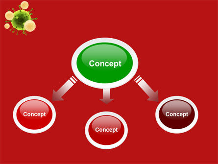 Green Virus On A Red Background PowerPoint Template, Slide 4, 05936, Technology and Science — PoweredTemplate.com