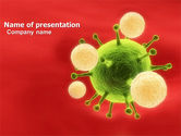 Technology and Science: Green Virus On A Red Background PowerPoint Template #05936