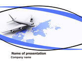 Cars and Transportation: Plantilla de PowerPoint - amplio transporte aéreo mundial #05960