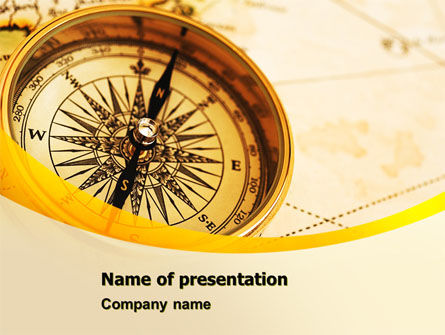 Compass Lying On The Map PowerPoint Template, 05974, Business Concepts — PoweredTemplate.com