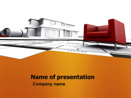 Visualization Of House Draft Free PowerPoint Template, 05976, Construction — PoweredTemplate.com