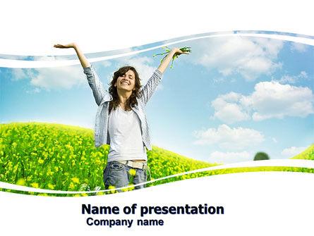People: Plantilla de PowerPoint - chica de sol #05989