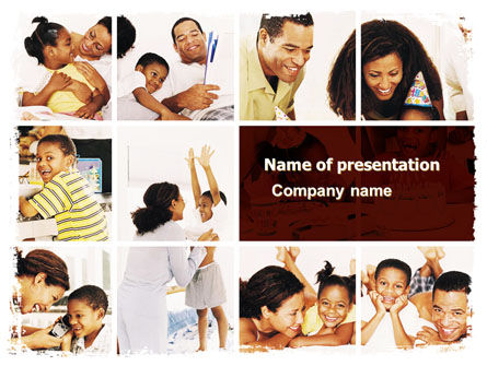People: Happy Family Portrait PowerPoint Template #06006