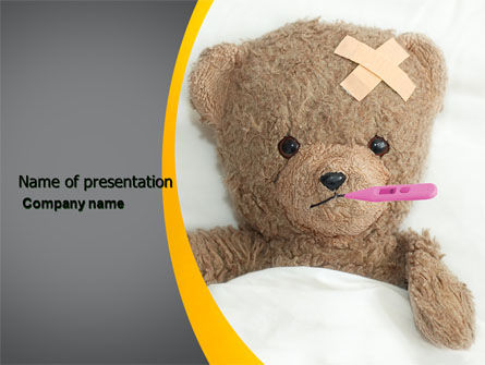 Wounded Teddy Bear PowerPoint Template, 06030, Medical — PoweredTemplate.com