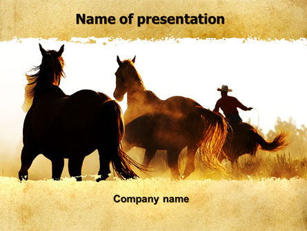 America: Life On Ranch PowerPoint Template #06046