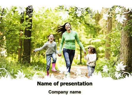 Mother with Daughters PowerPoint Template, 06047, People — PoweredTemplate.com