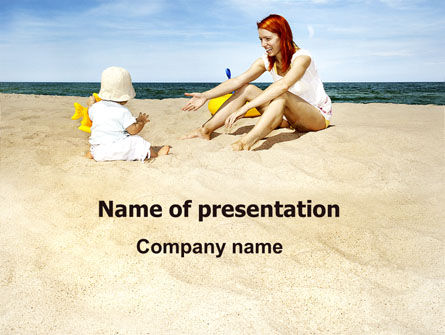 Baby on Beach PowerPoint Template, 06064, People — PoweredTemplate.com