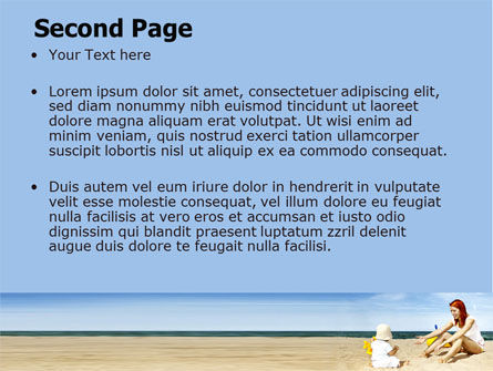 Baby on Beach PowerPoint Template, Slide 2, 06064, People — PoweredTemplate.com