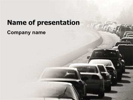 Cars and Transportation: Traffic Jam PowerPoint Template #06066