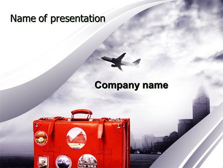 Travel Suitcase PowerPoint Template, 06076, Careers/Industry — PoweredTemplate.com