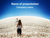 Nature & Environment: Girl At The Summer Field PowerPoint Template #06081