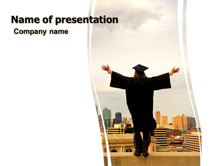 Education & Training: Graduator On The Roof PowerPoint Template #06082