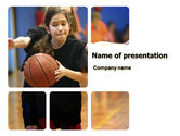 Sports: Women's Basketball in School PowerPoint Template #06084