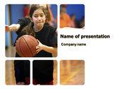 Sports: Women's Basketball in School PowerPoint Template #06084
