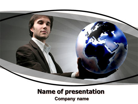Holding Globe PowerPoint Template, 06091, Business Concepts — PoweredTemplate.com