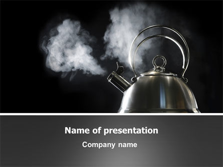 Boiling Kettle At The Kitchen PowerPoint Template, 06093, Careers/Industry — PoweredTemplate.com