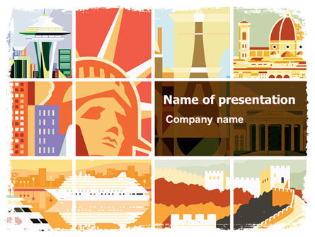 Flags/International: World Capitals PowerPoint Template #06095