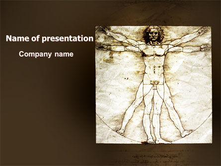 Vitruvian Man By Leonardo da Vinci PowerPoint Template, 06107, Education & Training — PoweredTemplate.com