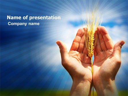 Wheat Cone PowerPoint Template, 06109, Agriculture — PoweredTemplate.com