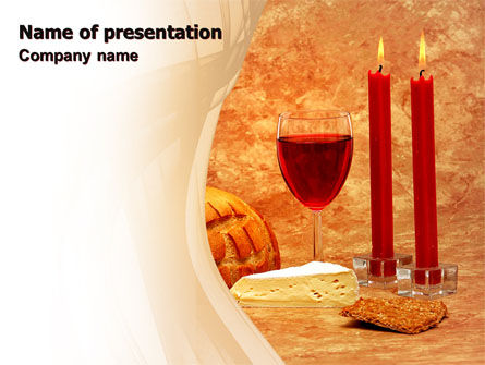 Holiday/Special Occasion: Candles and Wine PowerPoint Template #06112