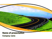 Construction: Mountain Highway PowerPoint Template #06122