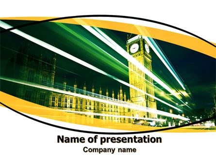 Big Ben PowerPoint Template, 06134, Flags/International — PoweredTemplate.com