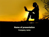 Religious/Spiritual: Sunset Reading PowerPoint Template #06136