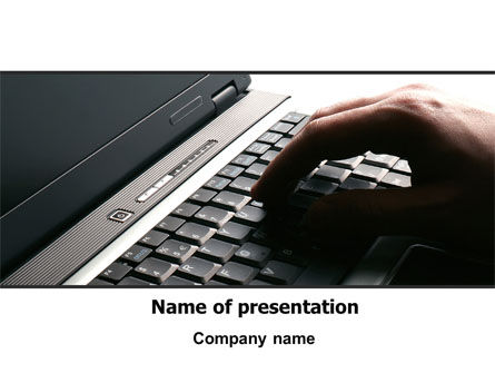 Hand On Laptop PowerPoint Template, 06145, Technology and Science — PoweredTemplate.com