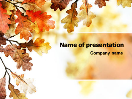 Yellow Oak Leaves PowerPoint Template, 06189, Nature & Environment — PoweredTemplate.com