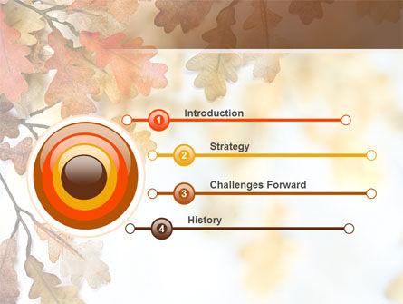 Yellow Oak Leaves PowerPoint Template, Slide 3, 06189, Nature & Environment — PoweredTemplate.com