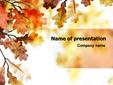 Nature & Environment: Yellow Oak Leaves PowerPoint Template #06189
