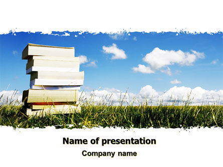 Education & Training: Book Pile PowerPoint Template #06195