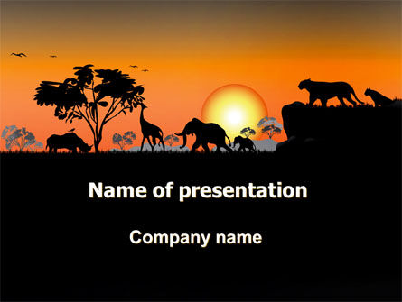 Nature & Environment: Plantilla de PowerPoint - puesta de sol de savanna #06202