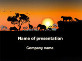 Nature & Environment: Savanna Sunset PowerPoint Template #06202