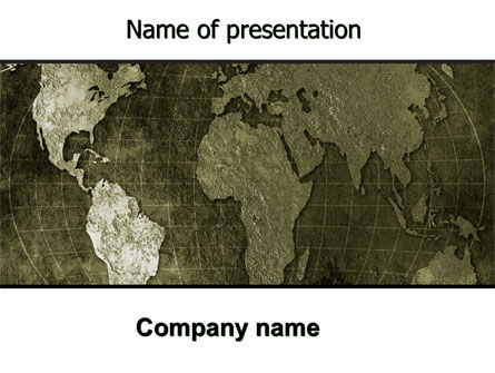 Metal Map PowerPoint Template, 06208, Global — PoweredTemplate.com