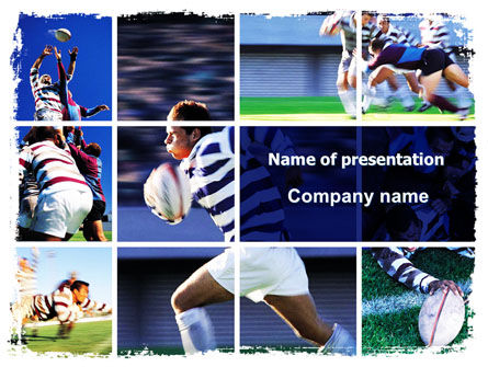 Sports: Rugby Collage PowerPoint Template #06219