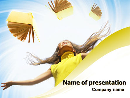 Girl With Books PowerPoint Template