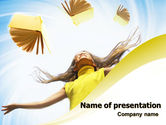 Education & Training: Girl With Books PowerPoint Template #06220